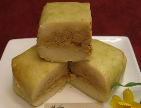 "Banh chung"" or ""square sticky rice cake"""